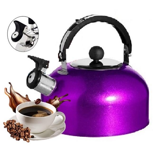 Chaleira de Inox Roxa Chá Café 1,8 Lts com Apito