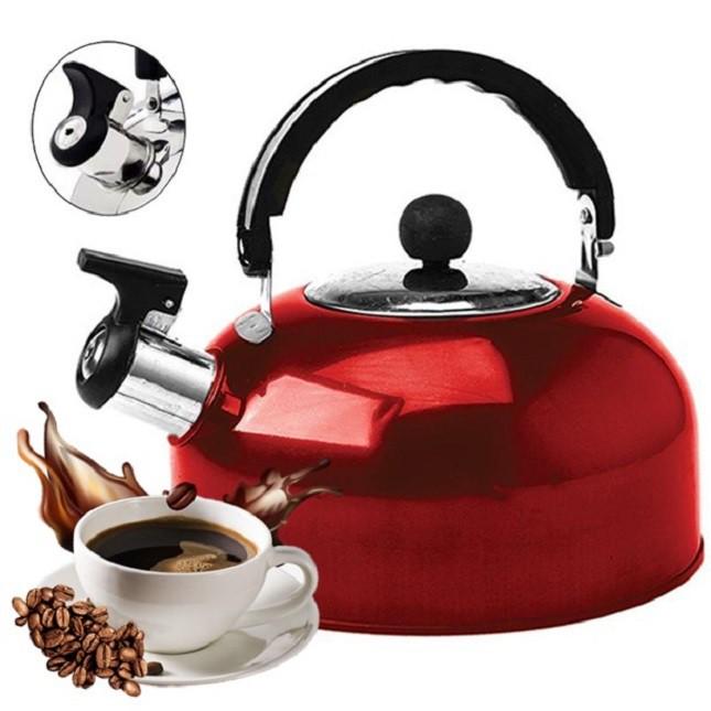 Chaleira de Inox Vermelha Café Chá com Apito 1,8 Lts