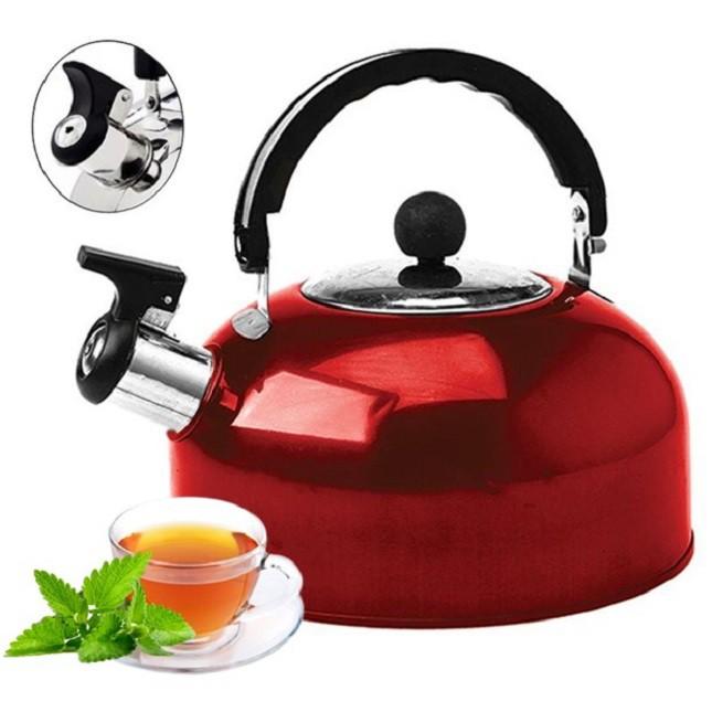 Chaleira de Inox Vermelha Chá Café 1,8 Lts com Apito