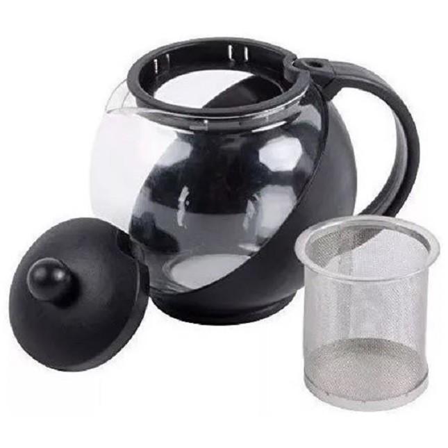 Chaleira De Vidro Chá Com Infusor Preto