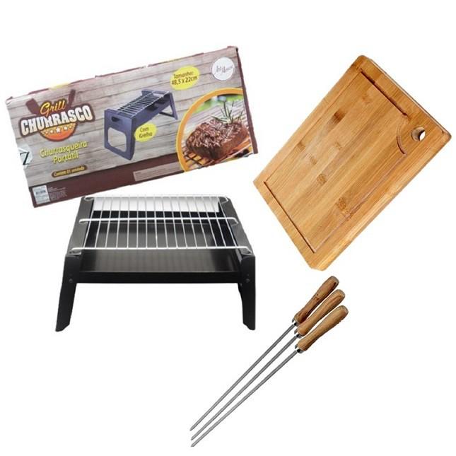 Churrasqueira Portátil Tabua de Carne Bambu 3 Espetos