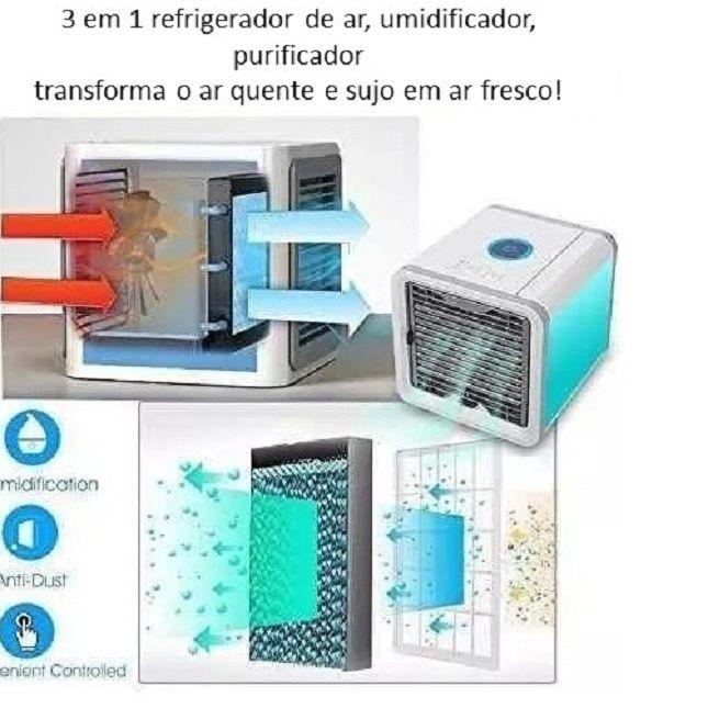 Climatizador Ar Condicionado Portátil Com LED Colorido - Tomate