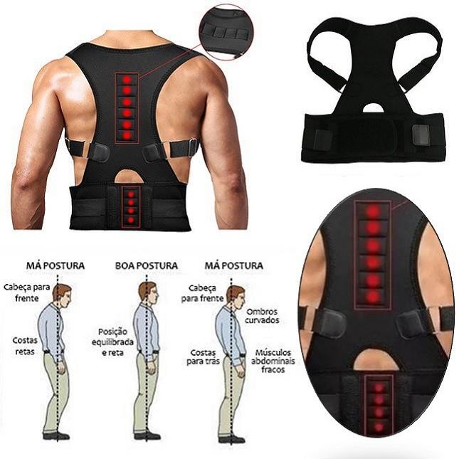Colete Corretor  Postura Costas Magnetica Coluna M