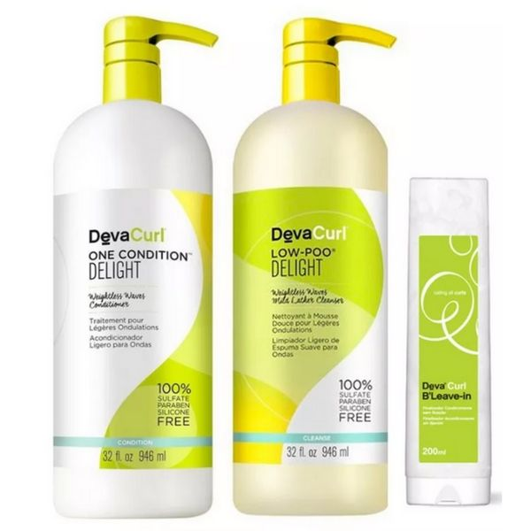 Deva Curl Kit Delight Low Poo, One (2 X 1litro) B' Leave-in