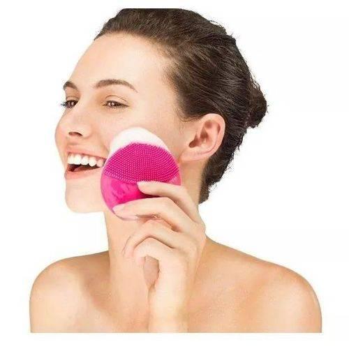 Escova De Limpeza Facial Massageador Recarregável Rosa