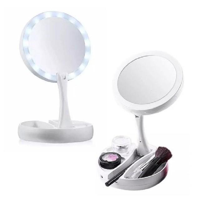 Espelho Luz Led Dobrável Maquiagem aumenta 10x
