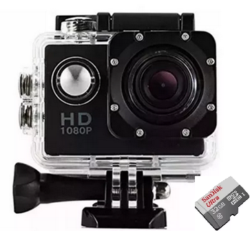 Filmadora Câmera e cartão de memória 32GB Esportes Moto e bicicleta