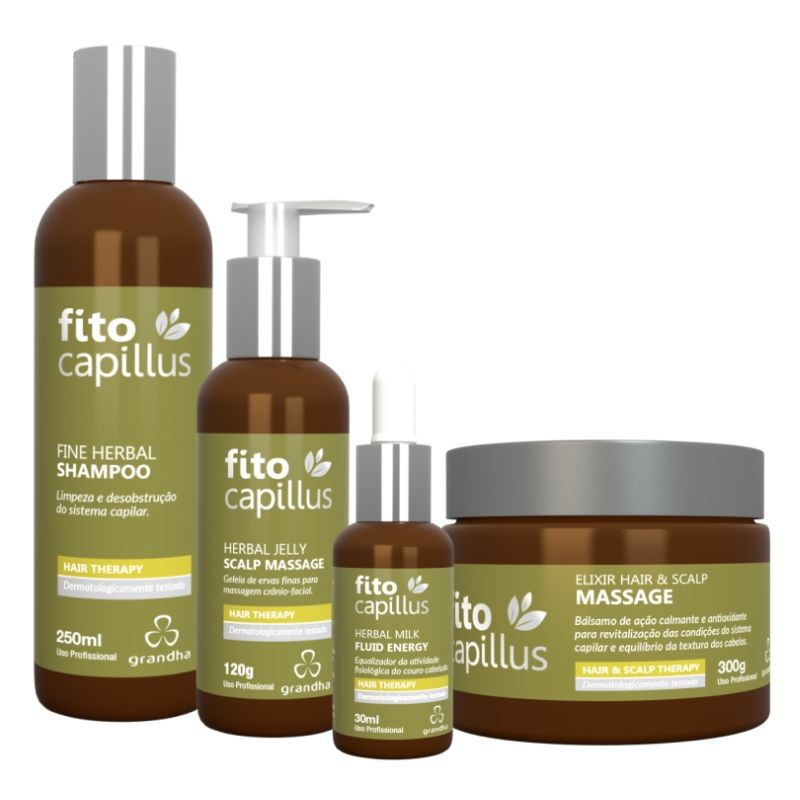 Fito Capillus Fine Herbal Terapia Capilar Grandha Kit Completo 4 itens