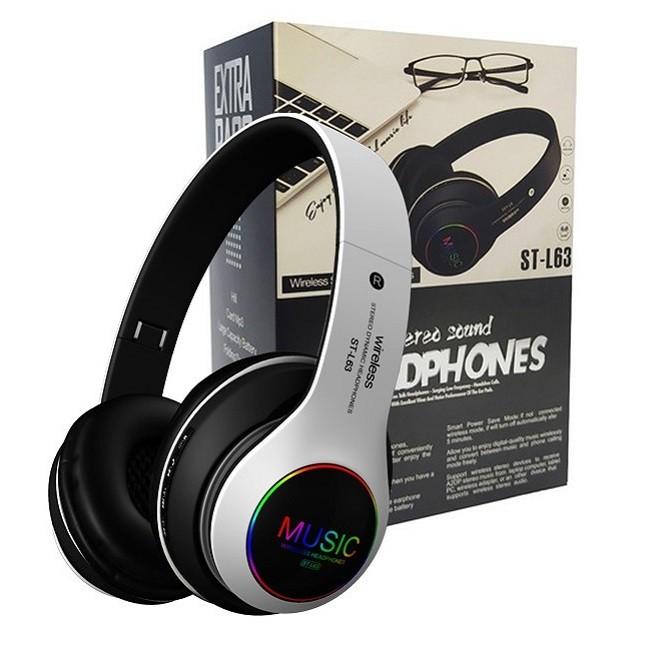 Fone De Ouvido Bluetooth 5.0 Dobrável Sem Fio ST-L63 Branco