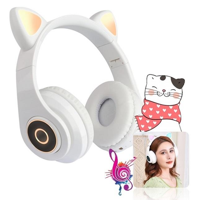 Fone De Ouvido Bluetooth Gatinho 5.0 Dobravel Branco
