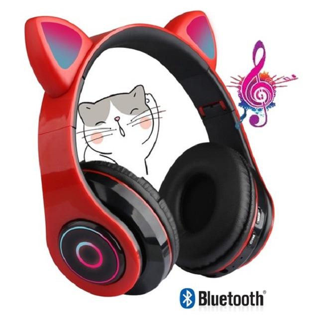 Fone De Ouvido Bluetooth Gatinho 5.0 Dobravel Vermelho