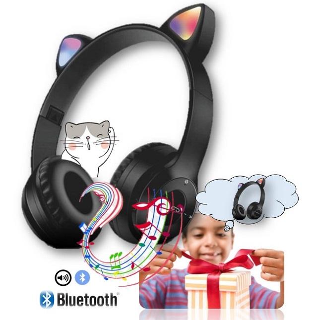 Fone De Ouvido Bluetooth Gatinho Dobravel D47 Headset Preto