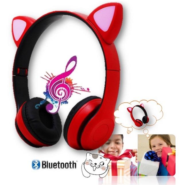 Fone De Ouvido Bluetooth Gatinho Dobravel D47 Vermelho