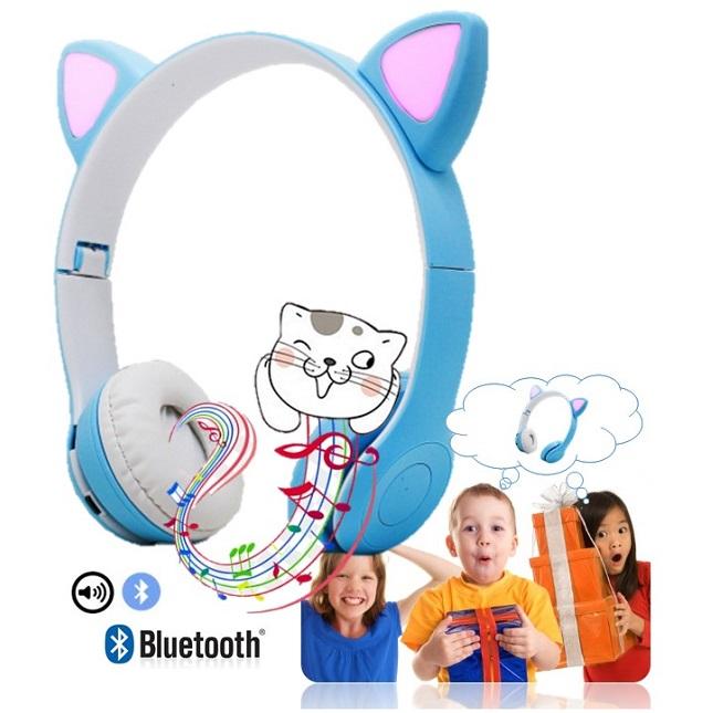 Fone De Ouvido Bluetooth Gatinho Dobravel Headset D47 Azul