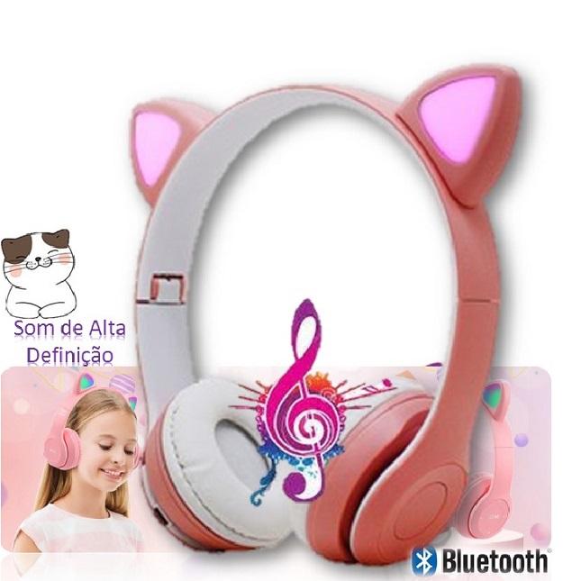Fone De Ouvido Bluetooth Gatinho Dobravel Rosa D47 Headset