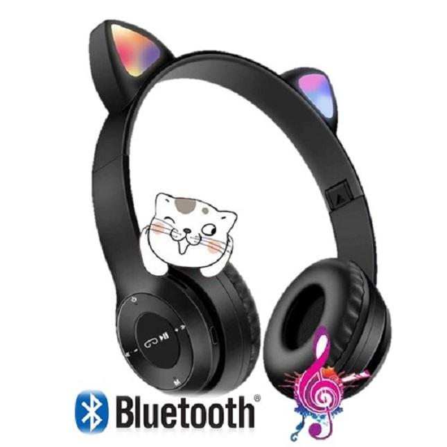 Fone De Ouvido Bluetooth Gatinho Headset Dobravel D47 Preto