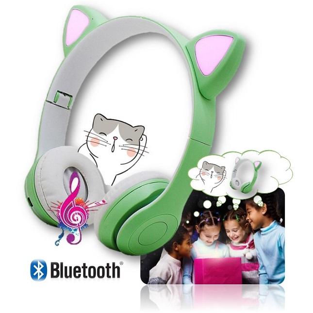 Fone De Ouvido Bluetooth Headset Gatinho Dobravel D47 Verde