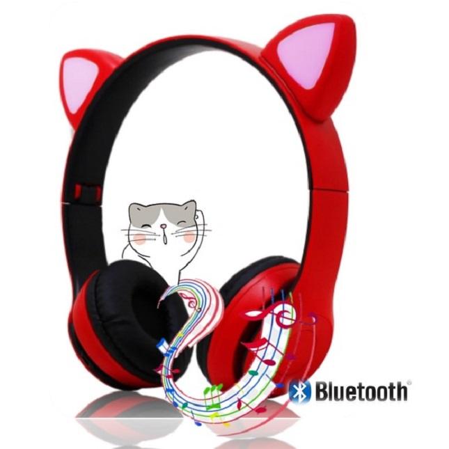 Fone De Ouvido Bluetooth Headset Gatinho Dobravel D47 Vermelho