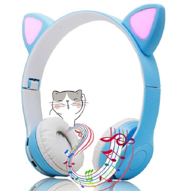 Fone De Ouvido Gatinho Bluetooth 5.0 Dobravel Azul D47