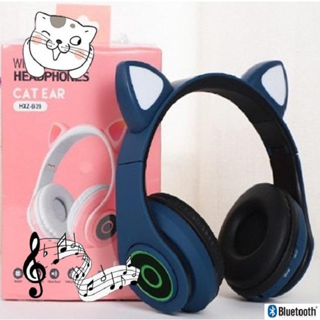 Fone De Ouvido Gatinho Bluetooth 5.0 Dobravel Azul Marinho