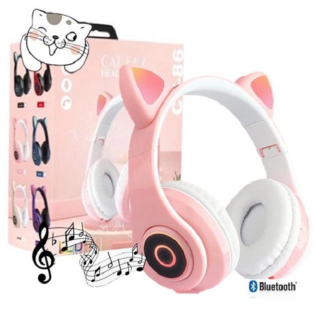 Fone De Ouvido Gatinho Bluetooth 5.0 Dobravel Rosa