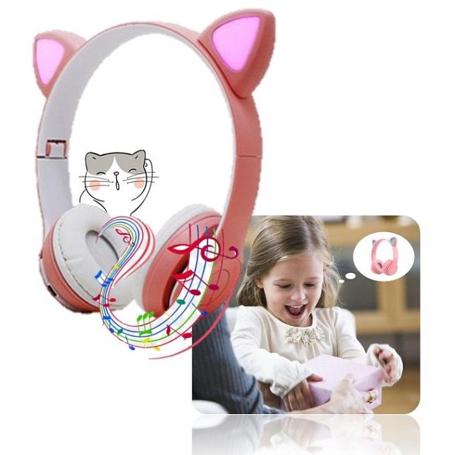 Fone De Ouvido Gatinho Bluetooth 5.0 Dobravel Rosa D47