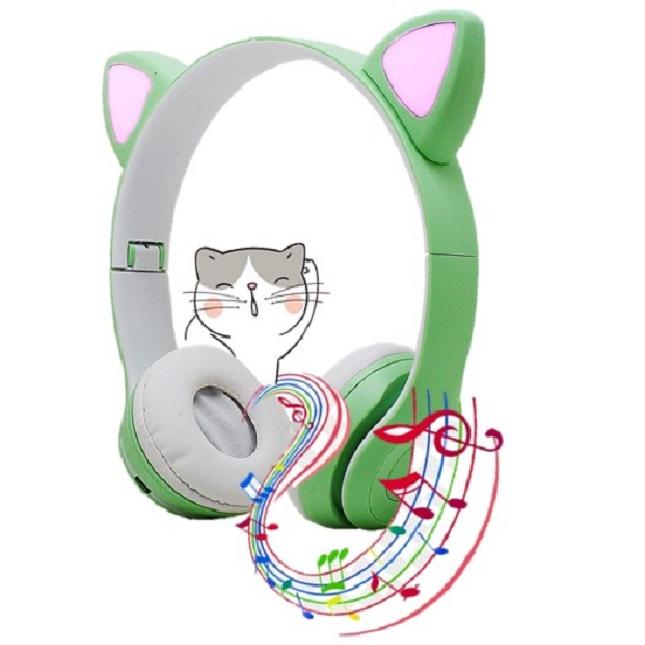 Fone De Ouvido Gatinho Bluetooth 5.0 Dobravel Verde D47