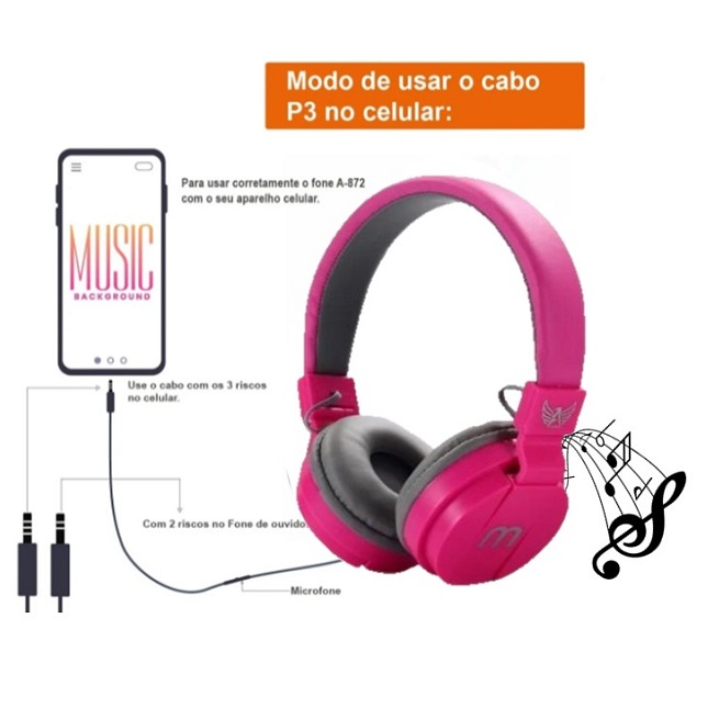 Fone De Ouvido Headphone Altomex A-872 Stereo Microfone ROSA