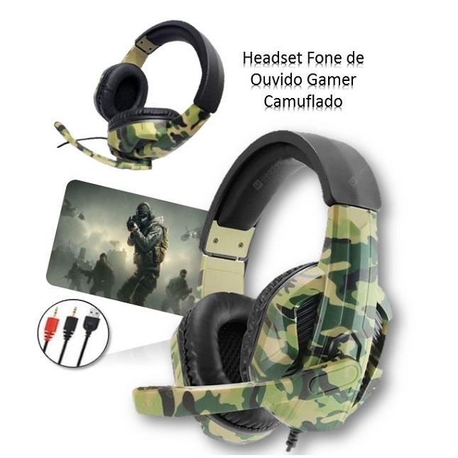 Fone de Ouvido Headset Gamer Camuflado Jogos