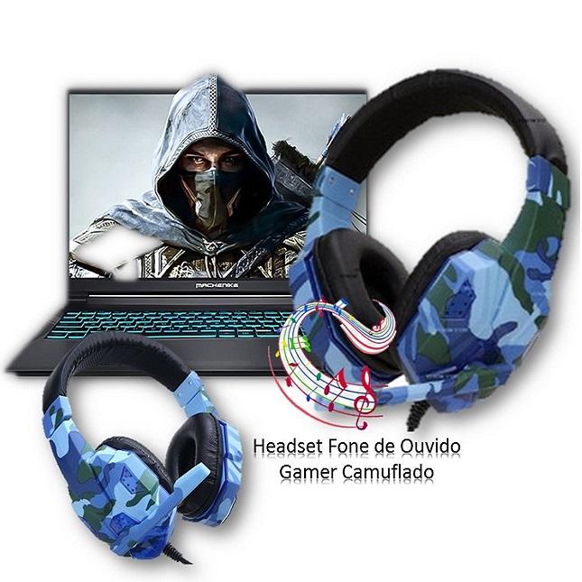 Fone de Ouvido Headset Gamer Jogos Camuflado