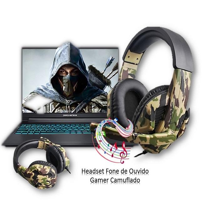 Fone de Ouvido Headset Gamer Jogos Microfone Camuflado