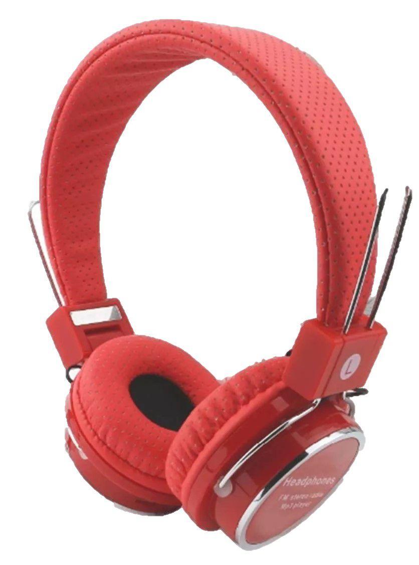 Fone Ouvido Estéreo Bluetooth Mp3 Radio Fm B-05 Vermelho