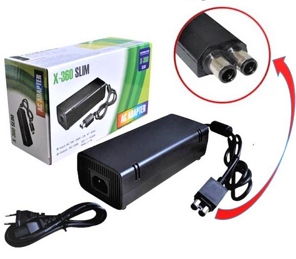 Fonte Xbox 360 Slim 2 pinos 110/220 volts