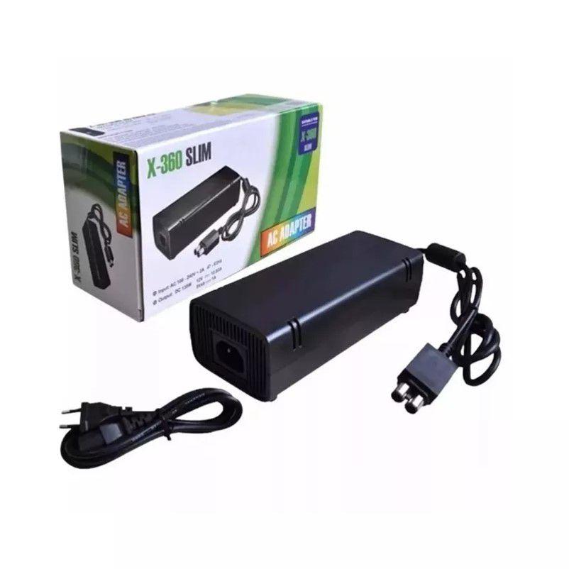 Fonte Xbox Para 360 Slim Bivolt 110v/220v Mais Cabo De Força