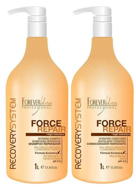 Forever Liss Force Repair Kit Reparador (Shampoo 1L + Condicionador 1L)
