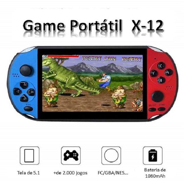 """Game Portátil Console X12 PLUS """"5.1""""  jogos de GBA FC NES"""