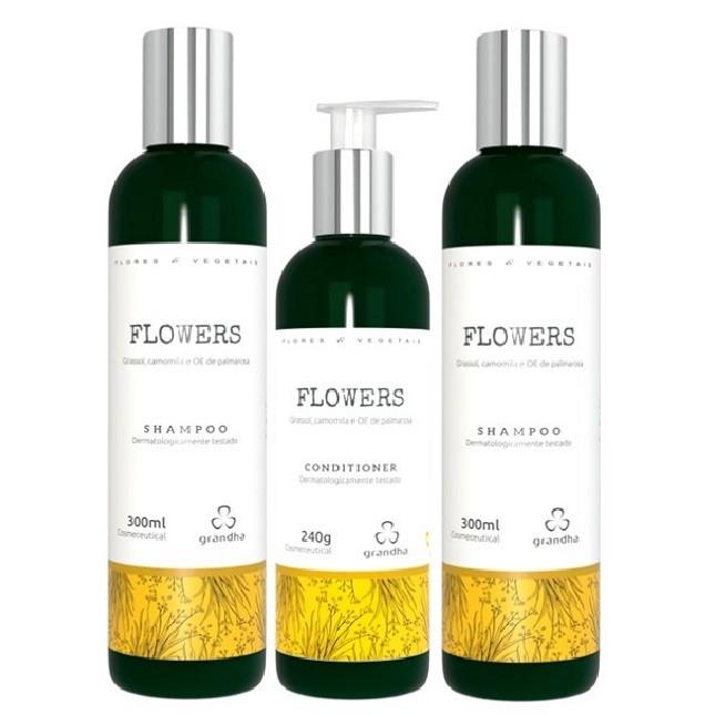 Grandha Flowers Com 2 Shampoo 1 Condicionador