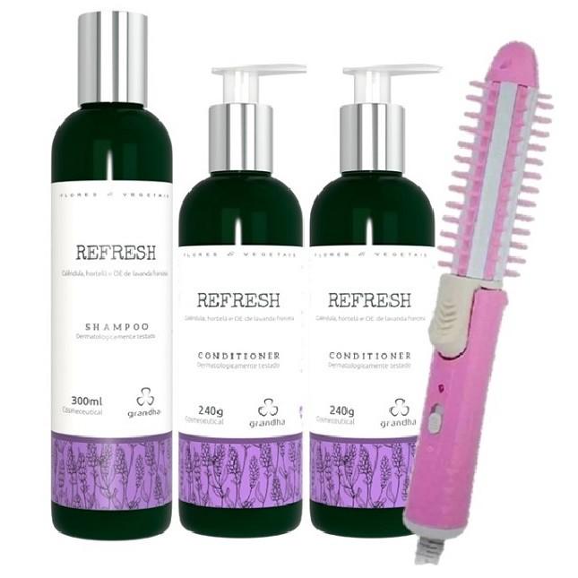 Grandha Refresh Com 1 Shampoo 2 Condicionadores e Escova