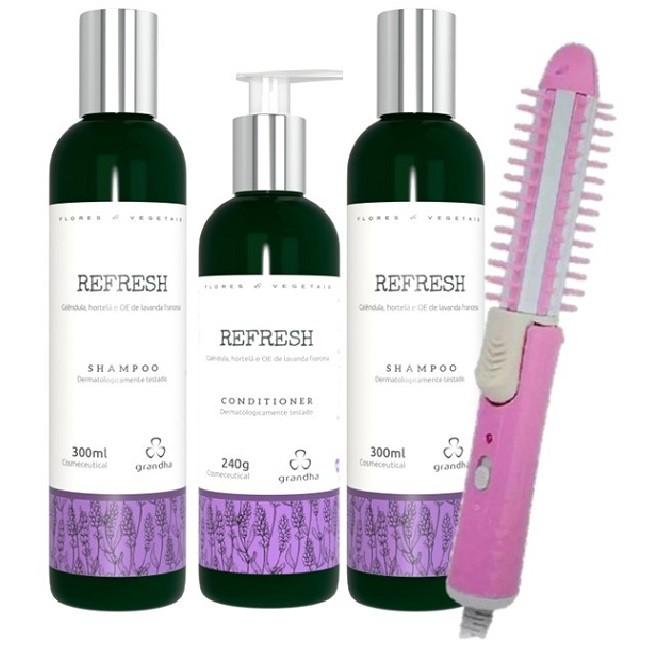 Grandha Refresh Com 2 Shampoo 1 Condicionadores e Escova