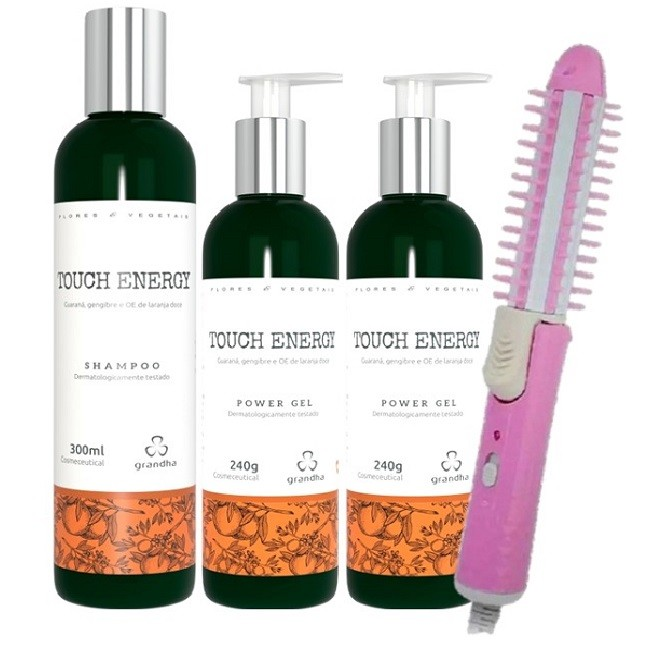 Grandha Touch Energy Com 1 Shampoo 2 Power Gel e Escova