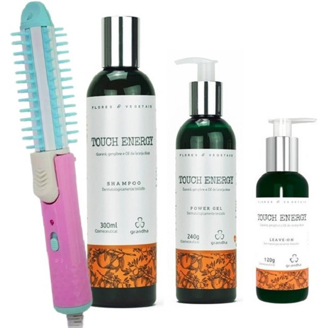 Grandha Touch Energy Shampoo Power Gel Leave Escova