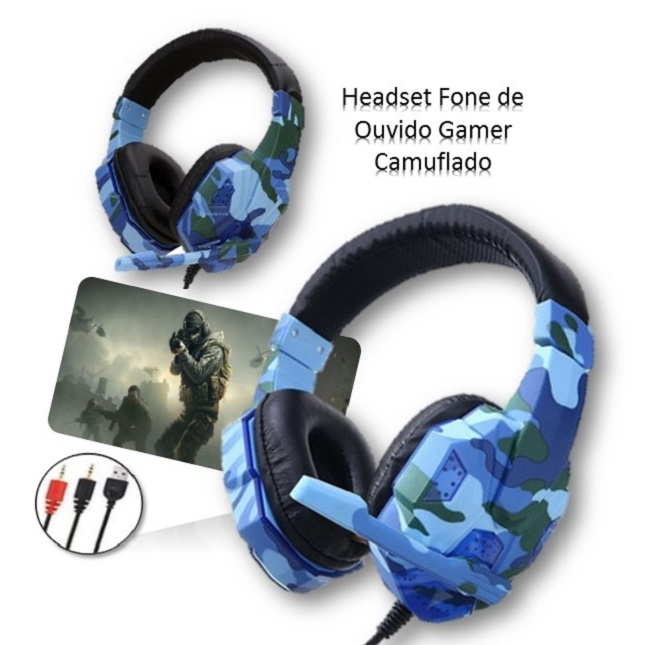 Headset Fone de Ouvido Gamer Camuflado
