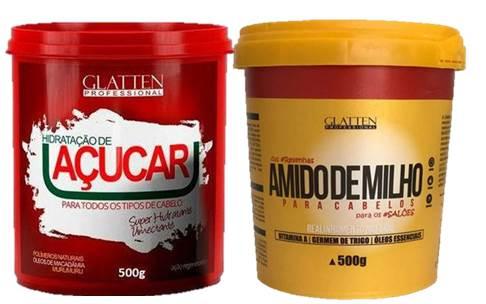 Hidratação de Açúcar  Maizzena para Cabelos Alisamento Natural (2X500 g) Glatten