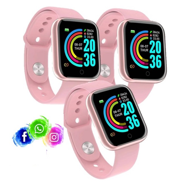 Kit 3 Relogio Inteligente Smartwatch D20 Rosa WhatsApp Insta