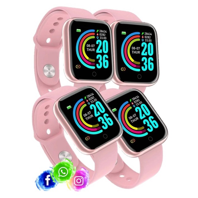 Kit 4 Relogio Inteligente Smartwatch D20 Rosa WhatsApp Insta