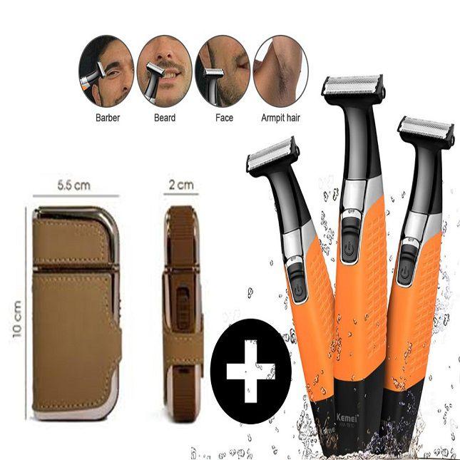 Kit Barbeador Aparador de Pelo + Barbeador Portátil Original Kemei RSCW5600 e KM-1910