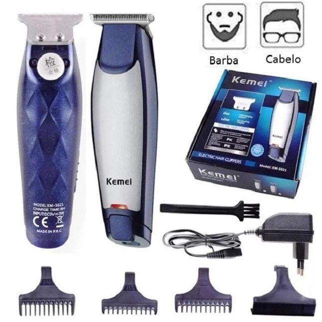 Kit Barbeador Portátil RSCW5600 Bivolt + Máquina De Cortar Cabelo Barbear 110V Kemei Km-5021