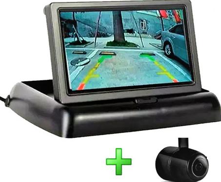 Kit Câmera de Ré visão traseira com monitor retrátil 4,3 polegadas