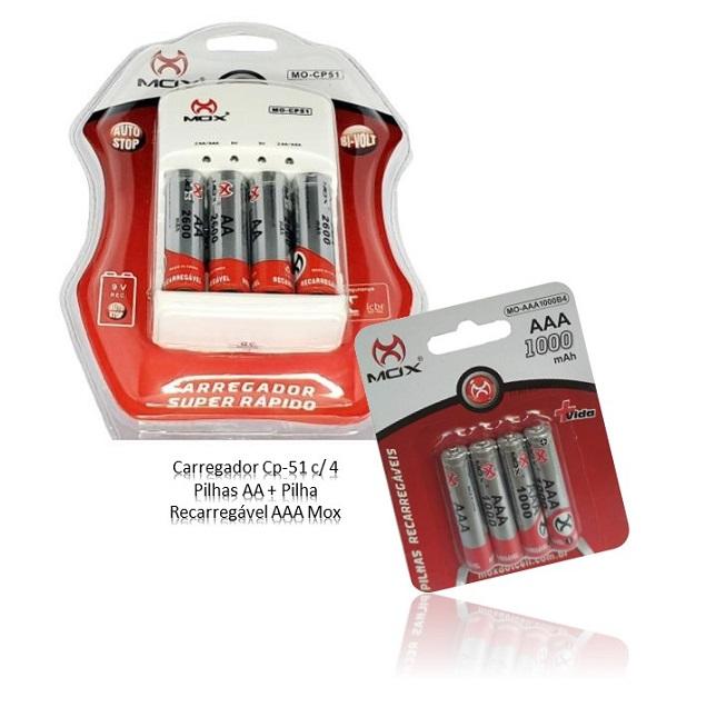 Kit Carregador De Pilhas Recarregavel Cp-51 4 Pilhas AA 4 Pilhas AAA