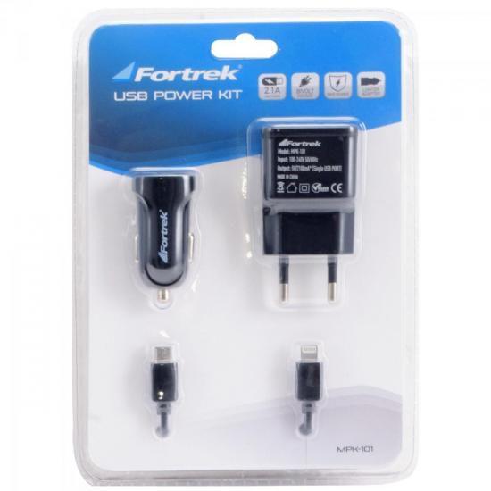 Kit Carregadores de Energia USB 12V/Bivolt MPK-101 Preto FOR